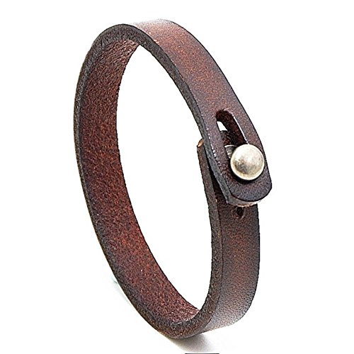MLD Handmade Unisex Genuine Leather Bracelet, Adjustable Cuff Wristband, Punk Dark Brown Leather Wrap for men and women boy(Brown)