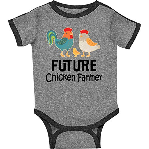 inktastic Future Chicken Farmer Infant Creeper 6 Months Ringer Heather and Smoke ()