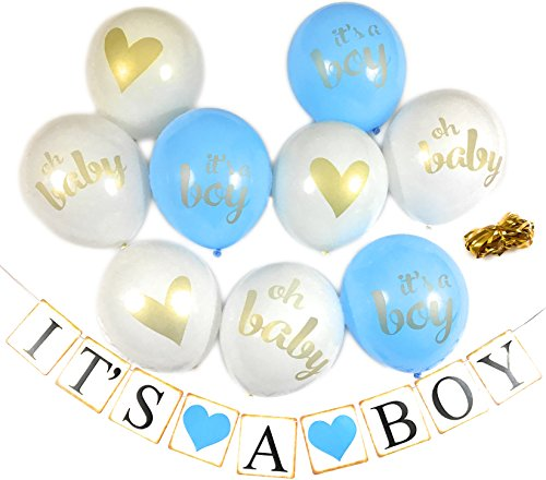 Baby Shower Party Decorations Decoration Decor Assembled Banner (Its A BOY) & 9PC Balloons w/Ribbon [Gold, Baby Blue, White] Kit Set Supplies Bundle | Hang on Wall Door Chair | It is A Boy