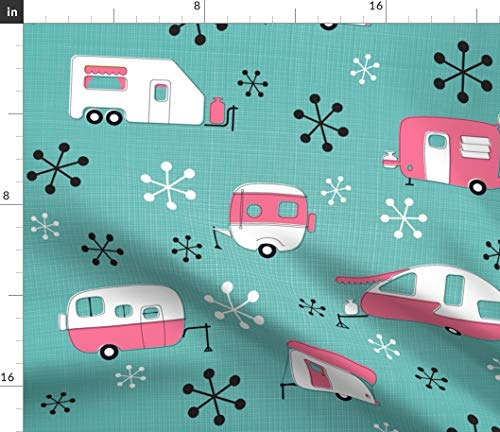 - Pink Retro Camper Fabric - Julie'S Campers Pink/Turq Mod Camping Trailer Park Julies S Summer Vintage Mid Print on Fabric by the Yard - Velvet for Upholstery Home Decor Bottomweight Apparel