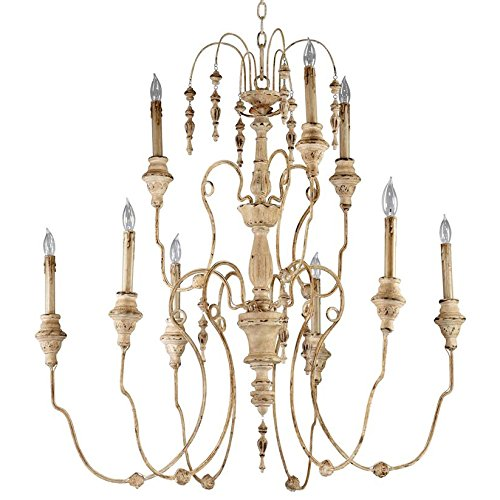 (Kathy Kuo Home Maison French Country Antique White 9 Light Chandelier)
