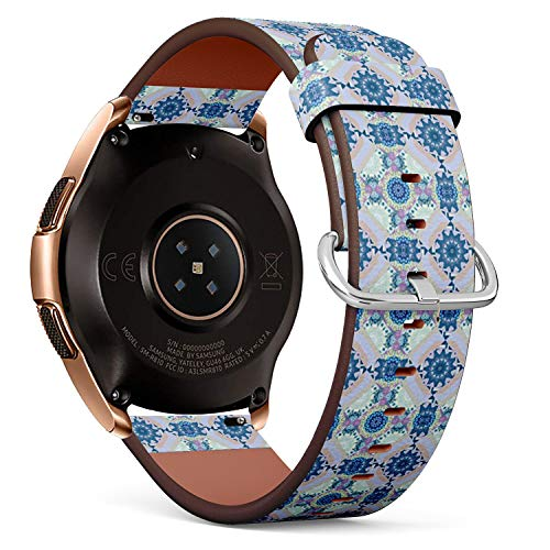Compatible with Samsung Galaxy Watch (42mm) - Quick-Release Leather Band Bracelet Strap Wristband Replacement - Ornament Bandana Gray Violet Blue ()