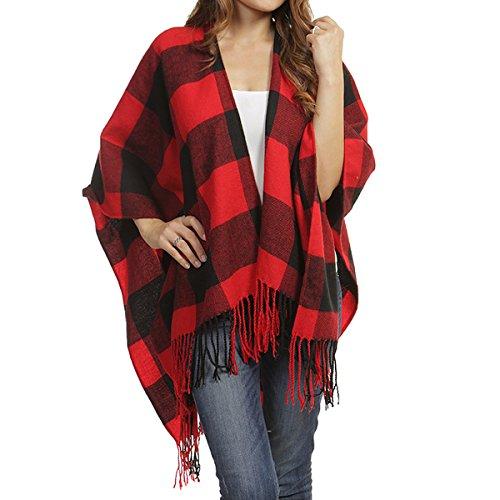TD Collections Women's Woven Buffalo Plaid Ruana Wrap Shawl, Scarf, Baseball Hat (Black/Red) (Cozy Knit Fringed Plaid Scarf)