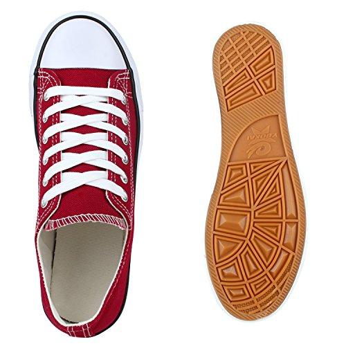 Unisex Damen Herren Schuhe Sneakers Turnschuhe Freizeitschuhe Low Sneaker Übergrößen Prints Glitzer Denim Flandell Dunkelrot Arriate