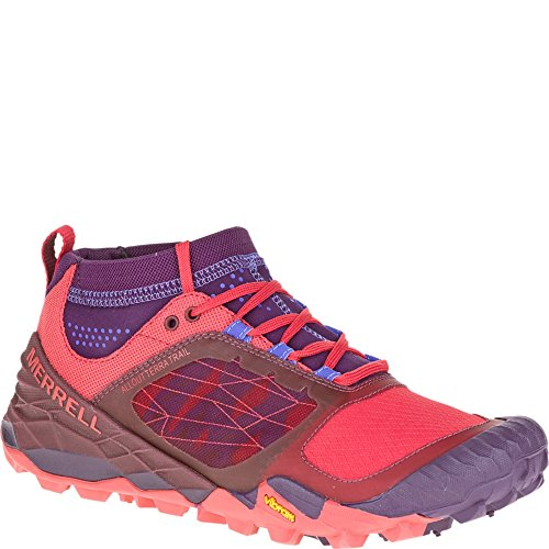 Merrell Women's All Out Terra Trail Trail Running Shoe, Wild Plum/Red, 10 M US