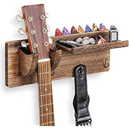 TODALE Guitar Wall Mount Guitar Wall Hanger Wood Guitar Hanging Rack with Pick Holder and 3 Hook (Wood Brown)