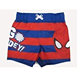 Marvels Little Toddler Boys Red Royal Blue Striped Go Spidey Swim Shorts 2T