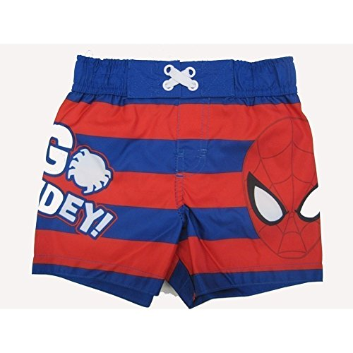 Marvels Little Toddler Boys Red Royal Blue Striped Go Spidey Swim Shorts 2T by Marvel