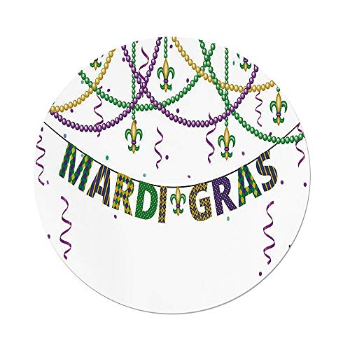 iPrint Polyester Round Tablecloth,Mardi Gras,Festive Decorations Fleur De Lis Icons Hanging from Colorful Beads Decorative,Purple Green Yellow,Dining Room Kitchen Picnic Table Cloth Cover Outdoor (Moss Green Fleur De Lis)