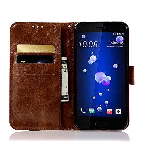 Funda HTC U11, SsHhUuJ Funda PU Piel Genuino Carcasa en Folio [Ranuras para Tarjetas] [Cierre Magnetico] con Acollador para HTC U11 (5.5) - Dorado Marrón