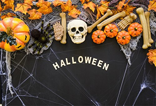Laeacco 6x4ft Halloween Theme Backdrop Vinyl Terrible Cobweb Skull Bones Small Cushaws Withered Maple Leaves Photography Backgroud Child Kids Baby Shoot Poster Horror Night