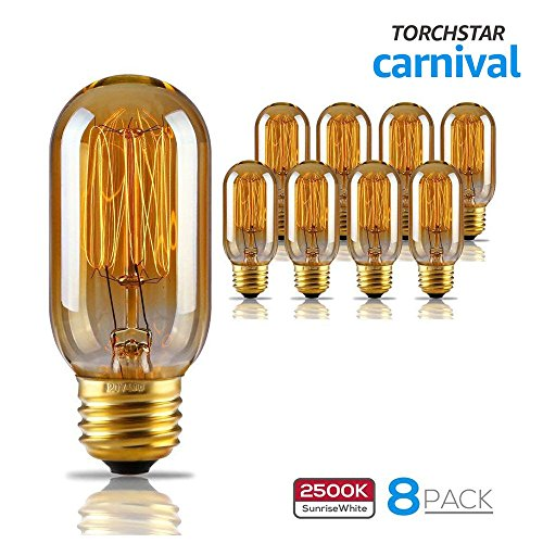 TORCHSTAR T45 40W Vintage Edison Light Bulb Dimmable 120V Filament Light Bulbs for Home Light Fixtures Decorative Pendant Chandelier Lantern Wall Scone Squirrel Cage Tungsten 8 Pack