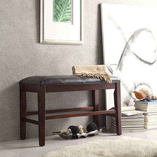 Colyton Black Brown Counter Height Bench, Black/Brown