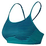 New Balance Women's The Tenderly Obsessive Print Bra, Sea Glass Deep Water, Large