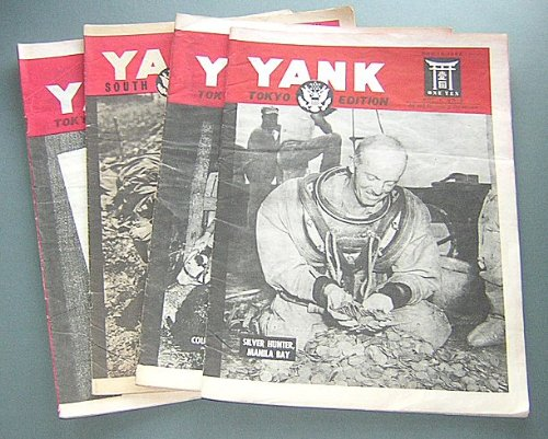 Hine Cognac - Yank Magazine 1945 Set of 4 Issues of South Japan and Tokyo Edition (GI's War Against Japan, Nazi Secret Weapons, Surrender on Okinawa, Prisoners of War, Silver Hunt, Cognac, Pin-up Girls)