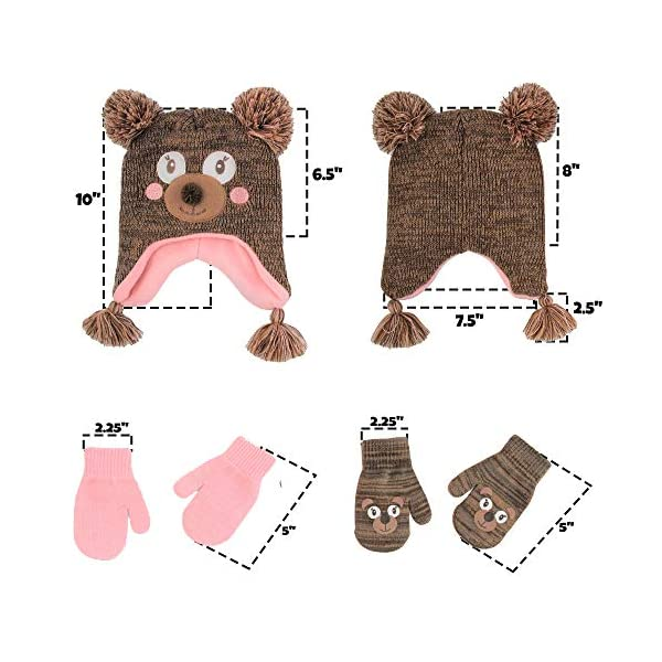 ABG Accessories Assorted Critter Designs Hat and 2 Pair Gloves or Mittens Cold Weather Set, Little Girls Ages 2-7