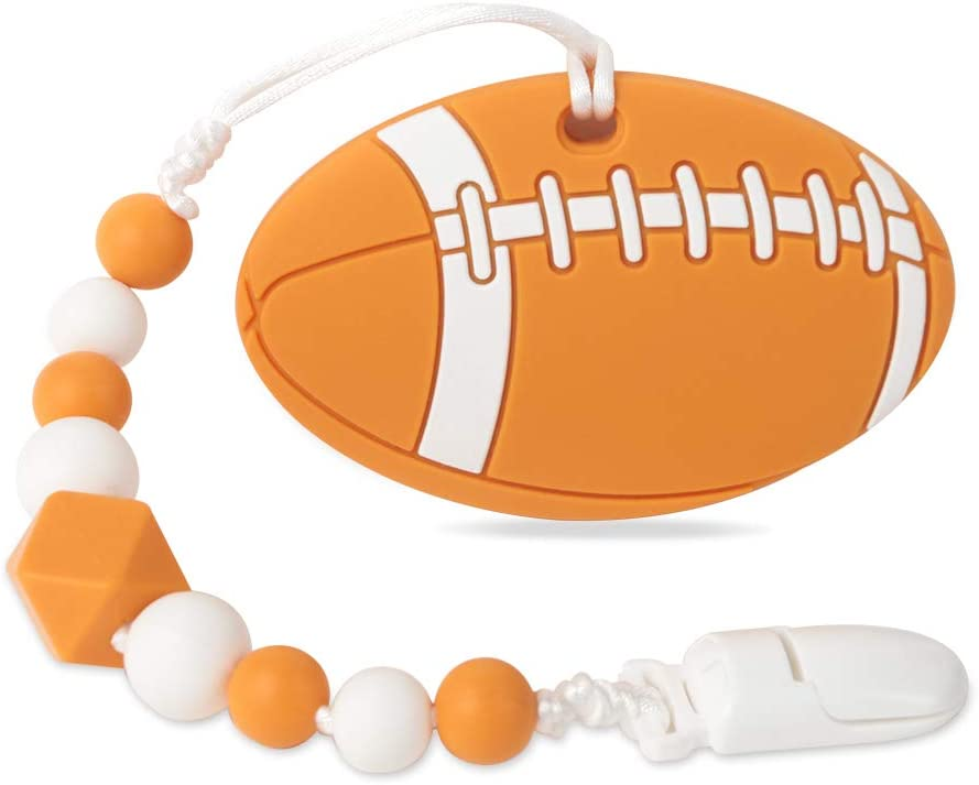 Baby Sport Teething Toys,BPA Free Food Grade Silicone Teether with Pacifier Clip,Highly Effective Pain Relief for Boy and Girl,Freezer Safe Teething Egg (American Football)