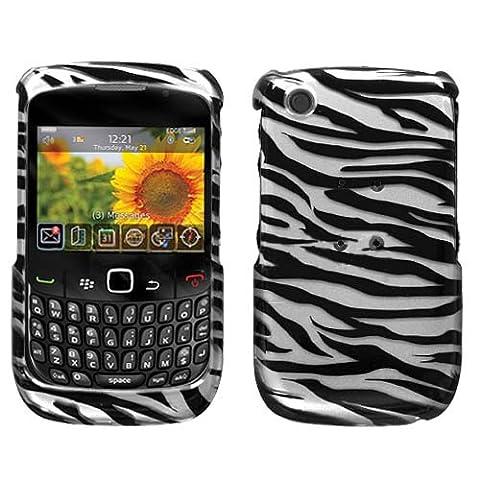 Zebra Skin(2D Silver) Phone Protector Faceplate Cover For RIM BLACKBERRY 8520(Curve), 8530(Curve), 9300(Curve 3G), 9330(Curve (Blackberry 8520 Curve Cover)