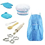 Taken All 11 PCS Chef Set for Kids Kitchen Gift Playset with Apron,Chef's Hat, Cooking Mitt & Utensils for Toddler Career Role Play Children Pretend Play Cooking Play Set for Boys & Girls (blue)