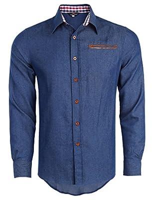 PAUL JONES Men's Casual Denim Shirt Long Sleeve Button Down Shirt