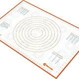 Jumbo Extra Large Silicone Marcorex Pastry Mat 29.6 x 20.5 inch with Measurements and Conversion Charts, Non-Stick Non-Slip, Fondant Suface, Heat Resistant Rolling Dough Mat, Orange