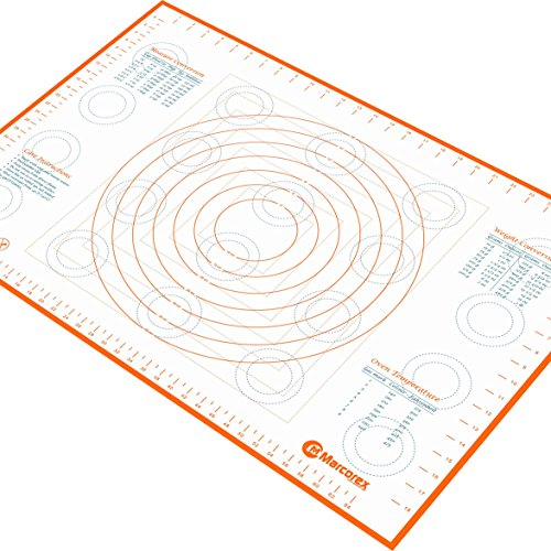 Chart Making Words Mat - Jumbo Extra Large Silicone Marcorex Pastry Mat 29.6 x 20.5 inch with Measurements and Conversion Charts, Non-Stick Non-Slip, Fondant Surface, Heat Resistant Rolling Dough Mat, Orange