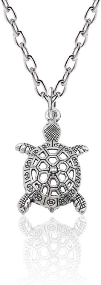 GEDASHU Collar Vintage Animal Jewelry Aleación de Plata Hollow Sea Turtle Charm Colgante Collar Tortuga Cuckold Collares Colgantes