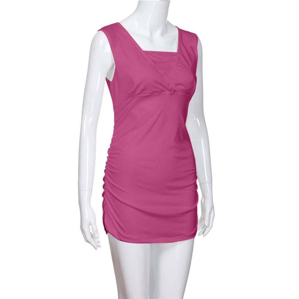 Women's Ruched Hem Blouse, Gogoodgo Ladies V-Neck Cross Strap Maternity Tops Stretched Round Neck Tank Tops Hot Pink by Gogoodgo vest (Image #6)
