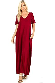 245a48ab3834fe Zenana Premium Women s Casual Long Relaxed Loose T-Shirt Maxi Dress with  Half Sleeves and
