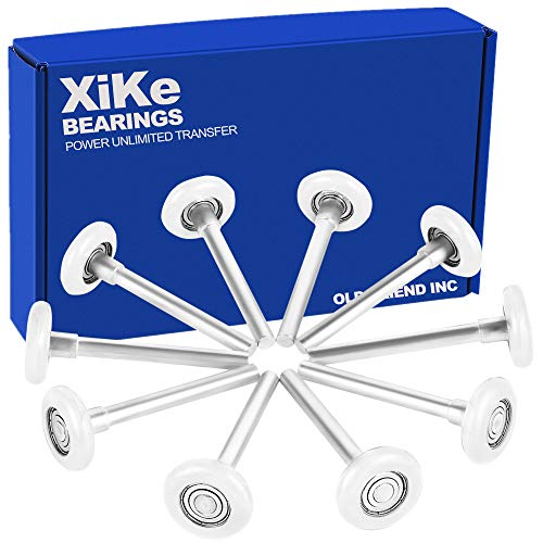 XiKe 10 Pack 2 in Nylon Garage Door Roller Use 6200ZZ Shield Bearing, Rotate Quiet and Durable, 4 in Stem and Reuse More Than 100,000 Cycles - White.