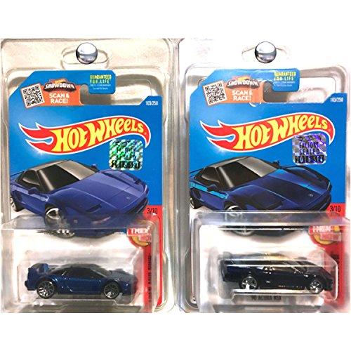 Mattel Hot Wheels 2016 FACTOR SEALED STICKER Acura NSX Blue Standard and SUPER Treasure Hunt Set (Hot Wheels Stickers Cars)