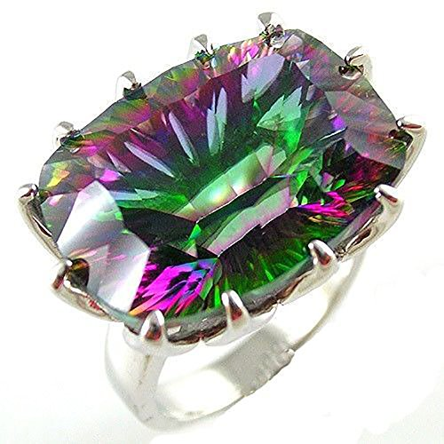 AYT HUGE Gem Stone 23ct Genuine Rainbow Fire Mystic Topaz Ring Pure Solid 925 Sterling Silver UNIQUE Fashion Size 6 7 8 9 (Huge Gemstone)