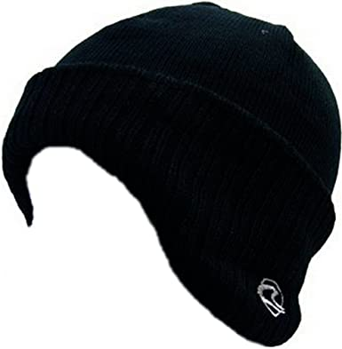 Mens Ribbed German Style Beanie Hat Ear Warmers Black One Size   Amazon.co.uk  Clothing d0b15a18a42