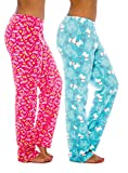 2-Pack Ladies Elastic Pajama Pants Warm Soft Comfy Plush Vibrant Waist Lounge, Pink/Blue Med