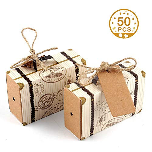 """AerWo 50pcs """"Travel Themed"""" Suitcase Favor Boxes + 50pcs Tags, Vintage Kraft Favor Box Candy Gift Bag for Travel Theme Party Wedding Birthday Bridal Shower from AerWo"""