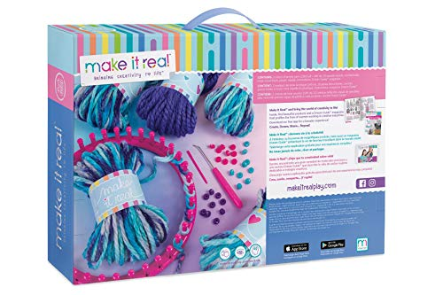 Make It Real - Knitting: Beanie Bun & Gloves. DIY Arts and Crafts Kit Guides Kids to Crochet a Beanie and Fingerless Gloves with Acrylic Yarn by Make It Real (Image #1)