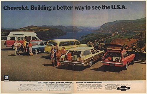 "1972 CHEVROLET SPORTVAN, CHEVELLE WAGON, SUBURBAN, KINGSWOOD ESTATE & VEGA WAGON "" Our '72 wagon tailgates go up, down, sideways,..."" HUGE VINTAGE COLOR AD DOUBLE PAGE - USA - WONDERFUL ORIGINAL !!"