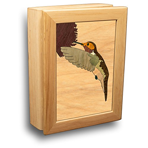 MarqART Hummingbird Wood Art Gift Trinket Box & Jewelry Boxes - Handmade USA - Unmatched Quality - Unique, No Two are The Same - Original Work of Wood Art (#4504 Hummingbird 4x5x1.5) (Wood Hummingbird)