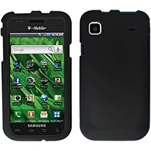 Black Rubber Hard Rubberized Case Cover Faceplate For Samsung Vibrant Galaxy S T959 w/ Free Black Pouch