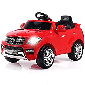 Costzon Ride On Car, Licensed Mercedes Benz ML350 6V Electric Kids Vehicle, 2WD Powered Manual/ Parental Remote Control Modes Car Lights, MP3, Music, Horn Kids (Red)