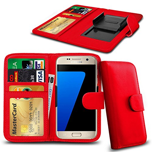 N4U Online® Apple iPhone 6 Plus cuir PU clip Cover Wallet Case Avec carte de crédit, Notes & ID Slots - Rouge