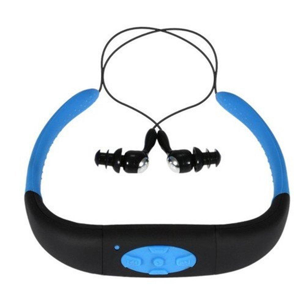 Hipipooo-4GB de memoria impermeable deportes MP3 reproductor de música estéreo de audio auriculares subacuáticos de natación natación buceo con FM radio auriculares(Azul)