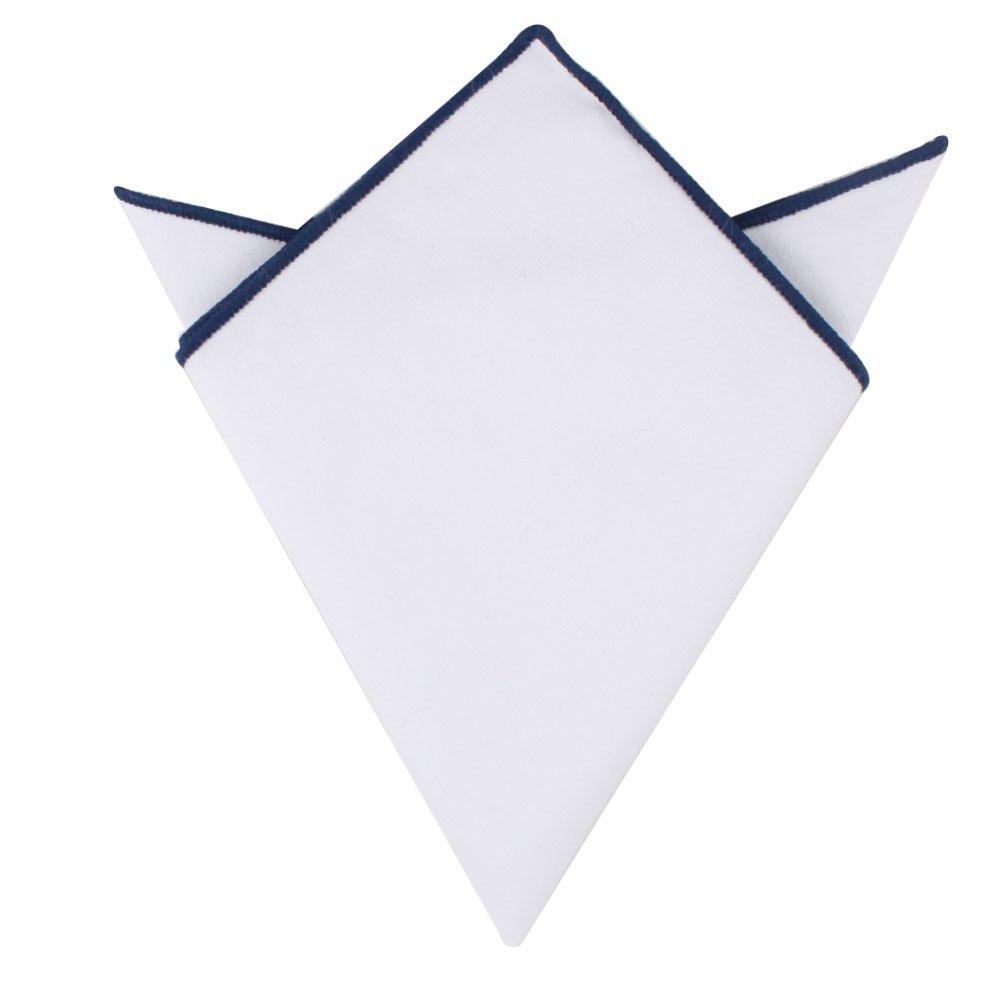 Navy Edge Cotton Pocket Square | White Linen Handkerchief Hanky | 5 Yr Warranty