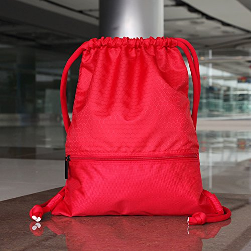 Esvan proof Gymbag Large Drawstring Backpack Gymsack Sackpack For Sport Traveling Basketball Yoga Running Red [1]