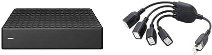 【セット買い】【Amazon.co.jp限定】Seagate Expansion HDD 6TB TV録画 静音 PS4 縦・横置可 省エネ 3年保証 外付け ハードディスク 3.5インチ STEB6000301 & エレコム 電源ケーブル ACアダプタを4個つなげる 0.2m ブラック T-ADR4BK