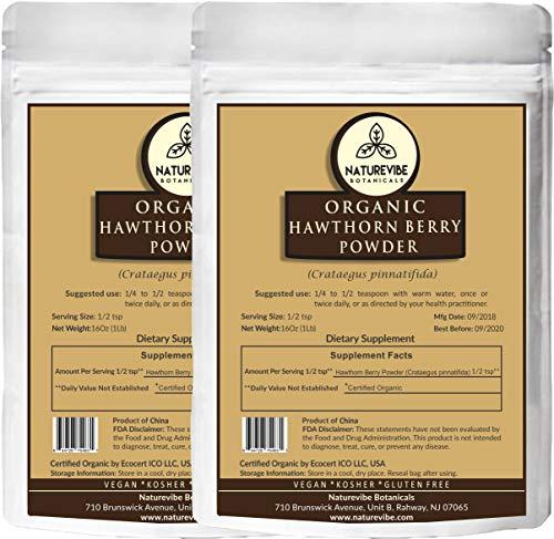 Naturevibe Botanicals Organic Hawthorn Berry Powder (2 lbs - 2 Packs of 1 lb Each) - USDA Organic Certified   Crataegus pinnatifida