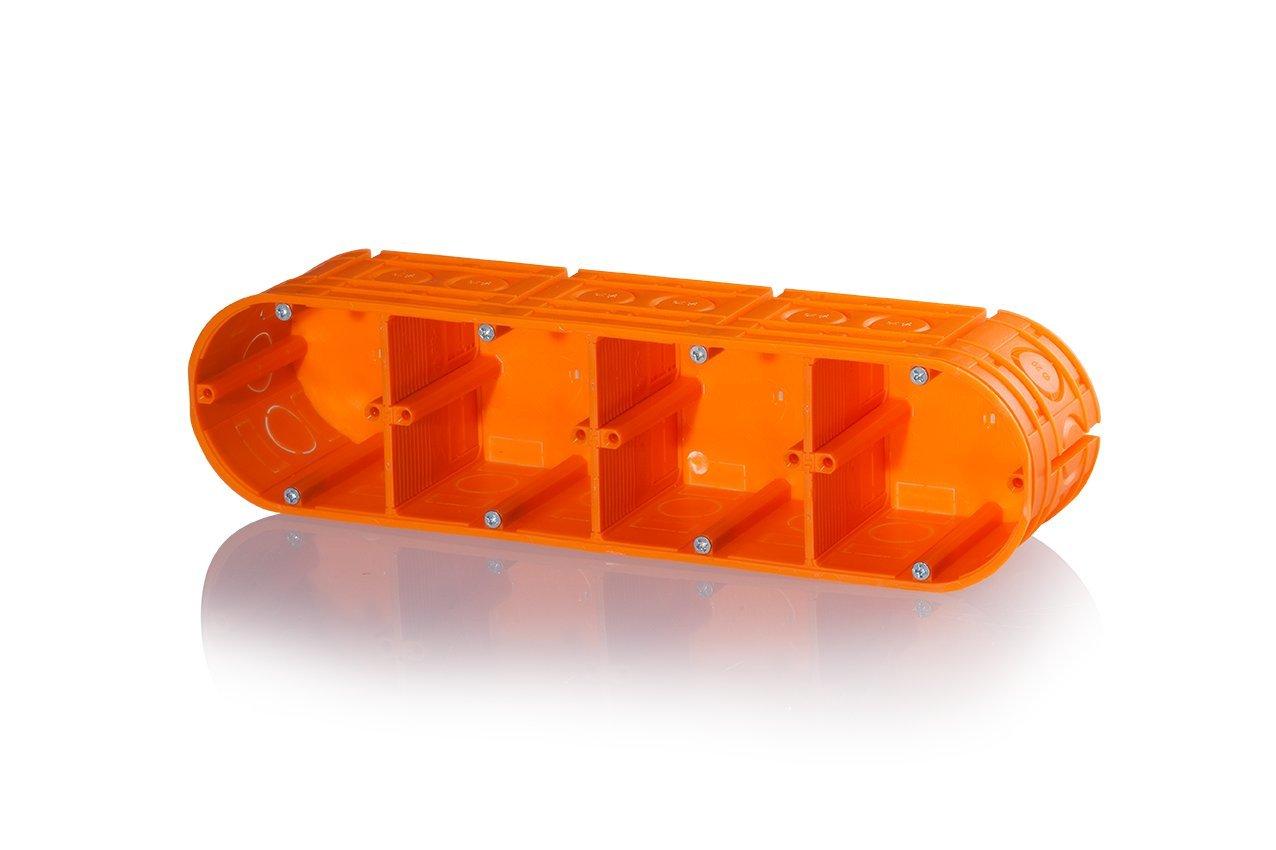 f-tronic Unterputz-Gerätedose massiv, 4-Fach, 63mm tief, UP40, Inhalt: 5 5 Stück