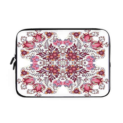 Batik Decor Laptop Sleeve Bag,Neoprene Sleeve Case/Vintage Colored Spring Inspired Blooming Floral Motif Oriental Lace Bridal Art/for Apple MacBook Air Samsung Google Acer HP DELL Lenovo Asus