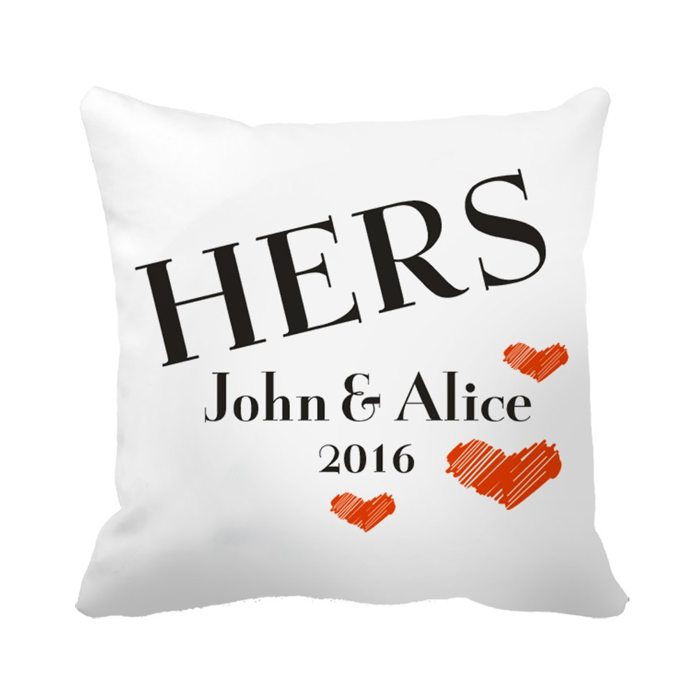 "CiCiDi Custom Name Hers Love Hearts Wedding Anniversary Gift Canvas Cotton Ornamental Throw Pillow 18""x 18"""