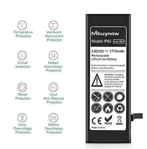 Mbuynow Reemplazo de iPhone 6S Batería, Nueva Batería 0 ciclos, Kit de Reemplazo con Herramientas de Alta Capacidad (1715mAh), Adhesivo e Instrucciones